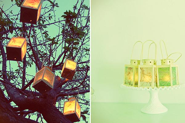 Photo lanterns for wedding decor