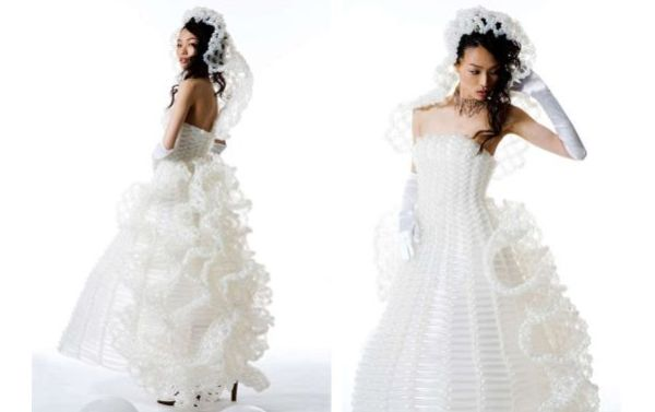 White Balloon Wedding Gown