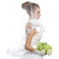 Passat Ivory 1 Tier Italy Luxury Lace Handmade Wedding Veils on sale
