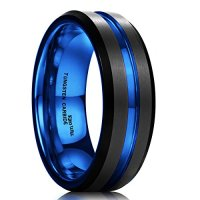 King Will Mens 7mm Black Matte Finish Tungsten Carbide Ring Blue Beveled Edge Wedding Band