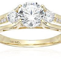 14k White Gold Cubic Zirconia Round Brilliant Three-Stone Channel Fancy 3-Split Engagement Ring