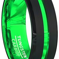 Mens Wedding Band Black 8mm Acid Green Tungsten Ring Groove Beveled Edge Comfort Fit