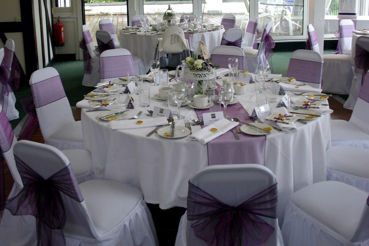 white wedding chair covers uk black high back post box and dj for bushey