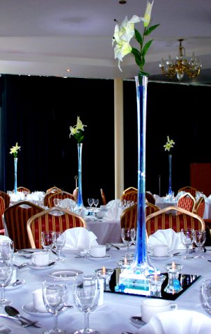 white wedding chair covers uk grey ireland 80cm tall lily vase, colour co-ordinated table centrepieces | dj hertfordshire
