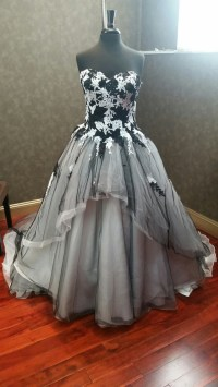 Black and White Wedding Dress with Tulle and Lace
