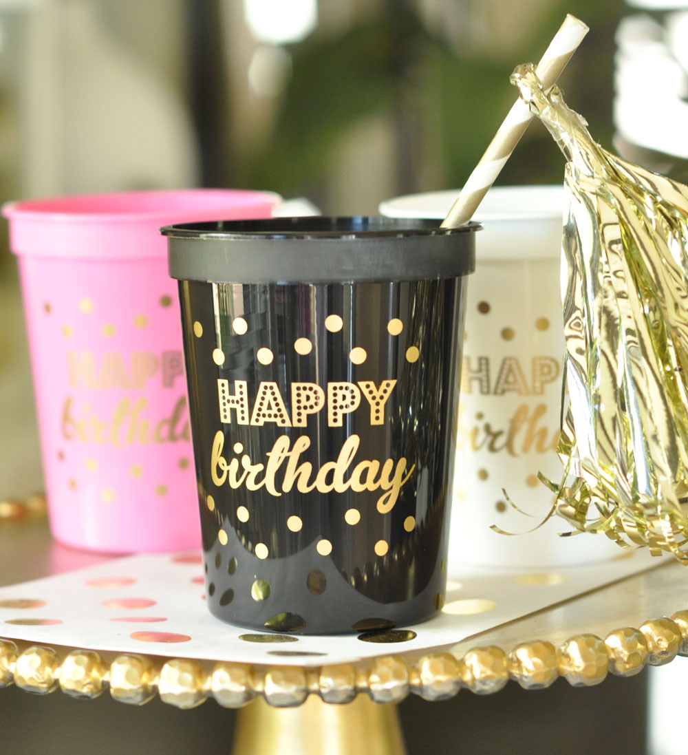 Gold HAPPY BIRTHDAY Party Cups Set Of 25