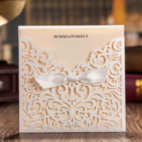 Pretty Lasercut Pocket Wedding Invitation