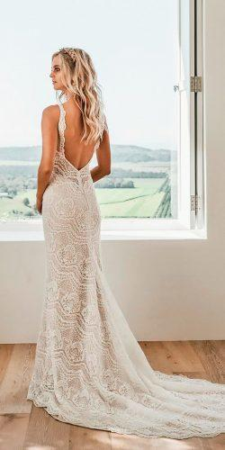 lace sheath low back spaghetti strap with train jane hill wedding dresses