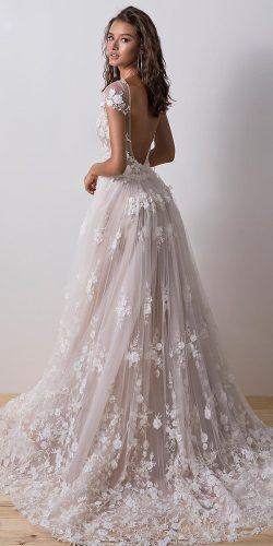 a line wedding dresses open back with cap sleeves floral blush dimitrius dalia
