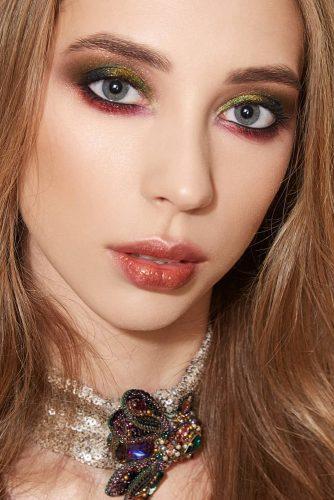fall wedding makeup burgundy and green tones oranges lips eyeshadows ludovik_t