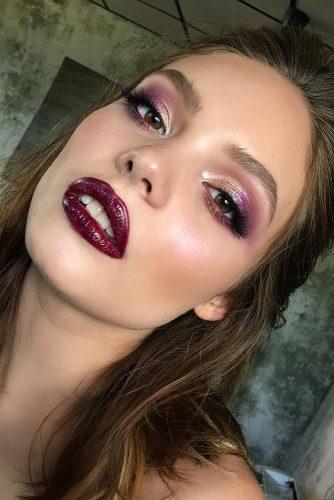 fall wedding makeup burgundy lips gold purple smoky eyes tominamakeup