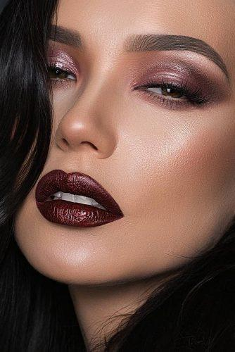 fall wedding makeup dark burgundy lips shimmer smokyeyes muaclub