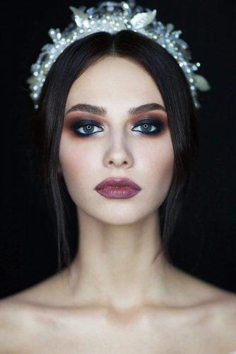 fall wedding makeup dark eyes and vampy lips shikstudio
