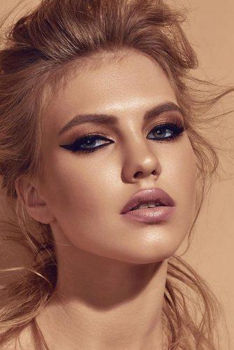 fall wedding makeup nude gold tones with arrows pink lips muaclub