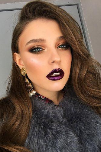 fall wedding makeup shimmer gold eyeshadows dark purple lips tominamakeup