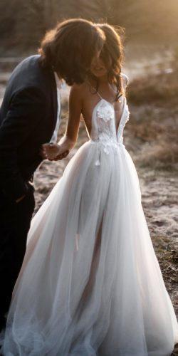 a line wedding dresses with spaghetti straps deep v neckline tali photography