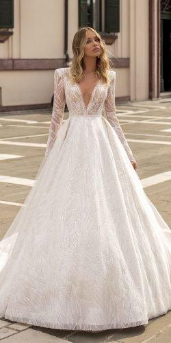 wona váy cưới công chúa tay dài đính kim cương sequins Ảnh váy cưới lấp lánh