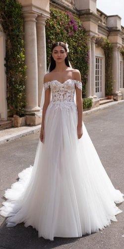 a line wedding dresses off the shoulder lace top pronovias