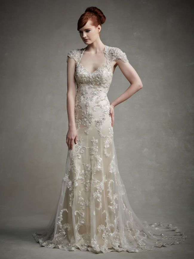 Best Lace Wedding Dresses capped sleeves