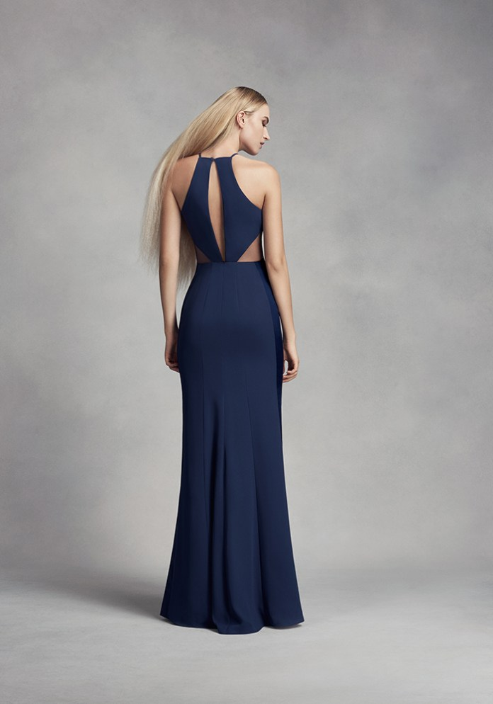 Please all of your nylons with navy bridesmaid dresses in an elegant midnight blue hue, whether fitted or floor-length, mid-length or with a statement back