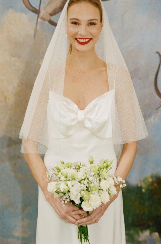 Leanna midi wedding dress with bow