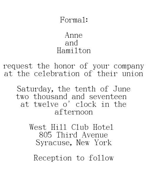Formal Wedding Invitations Wording Bride Groom Hosting