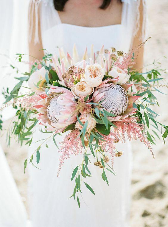 22 Tropical King Protea Wedding Bouquets Ideas