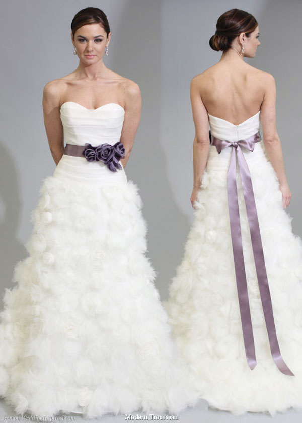 Modern trousseau 2011 bridal gown collection, Martine wedding dress - strapless fitted bodice textured skirt, purple color sash