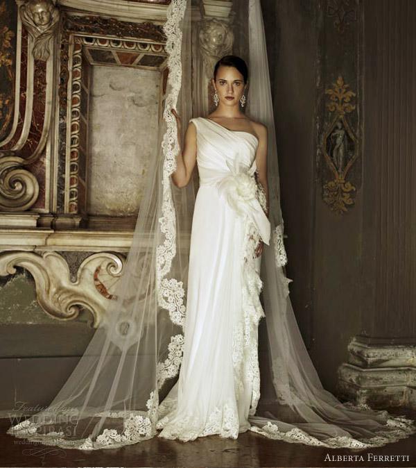 alberta ferretti wedding dresses 2013 piuma grecian drape one shoulder column gown