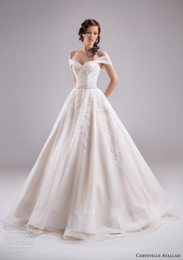 chrystelle atallah bridal spring 2015 off shoulder ruched sleeves bodice a line wedding dress sweetheart neckline