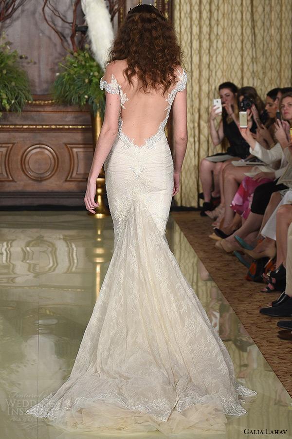 galia lahav wedding dress spring 2016 runway beaded cap sleeves sweetheart neckline beaded boduce plunging low back blush mermaid bridal gown