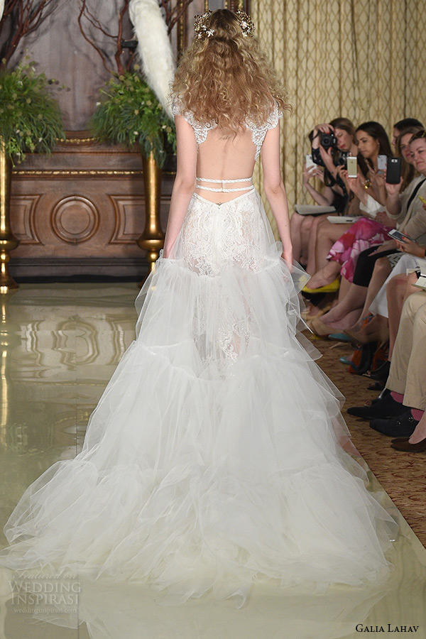 galia lahav wedding dress spring 2019 runway cap sleeves lace illusion neckline beaded bodice tiered tulle bridal gown back