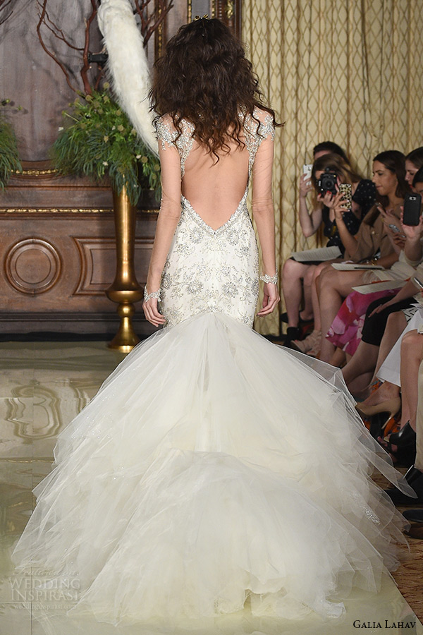 galia lahav wedding dress spring 2016 runway illusion long sleeves beaded cap sleeves plunging v neckline beaded bodice mermaid bridal gown tulle skirt back