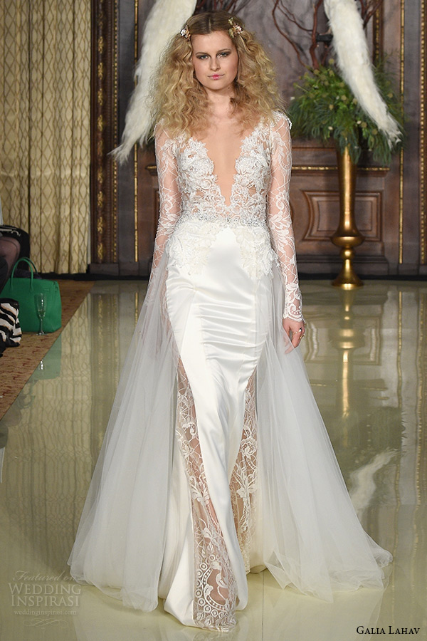 galia lahav wedding dress spring 2019 runway long sleeves lace plunging v neckline satin sheath bridal gown with train