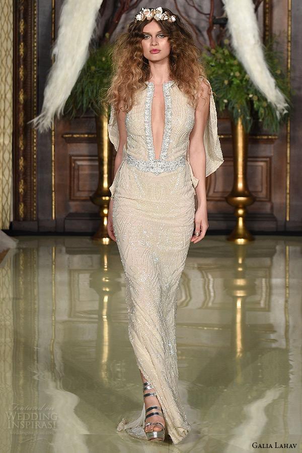 galia lahav wedding dress spring 2016 runway sleeveless deep plunging neckline low back beaded blush sheath bridal gown