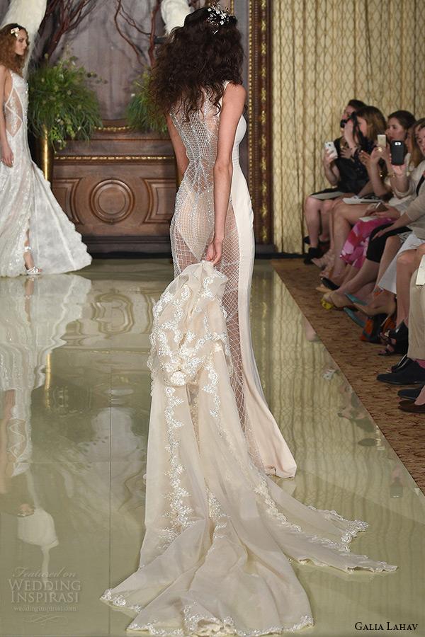 galia lahav wedding dress spring 2016 runway sleeveless keyhole neckline blush champagne sheath bridal gown with lace cape back