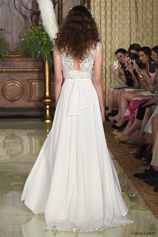 galia lahav wedding dress spring 2016 runway sleeveless sheer illusion bateau neckline modified a line bridal gown back