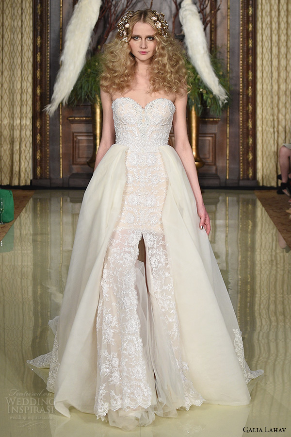 galia lahav wedding dress spring 2016 runway strapless sweetheart neckline corset beaded bodice blush bridal ball gown