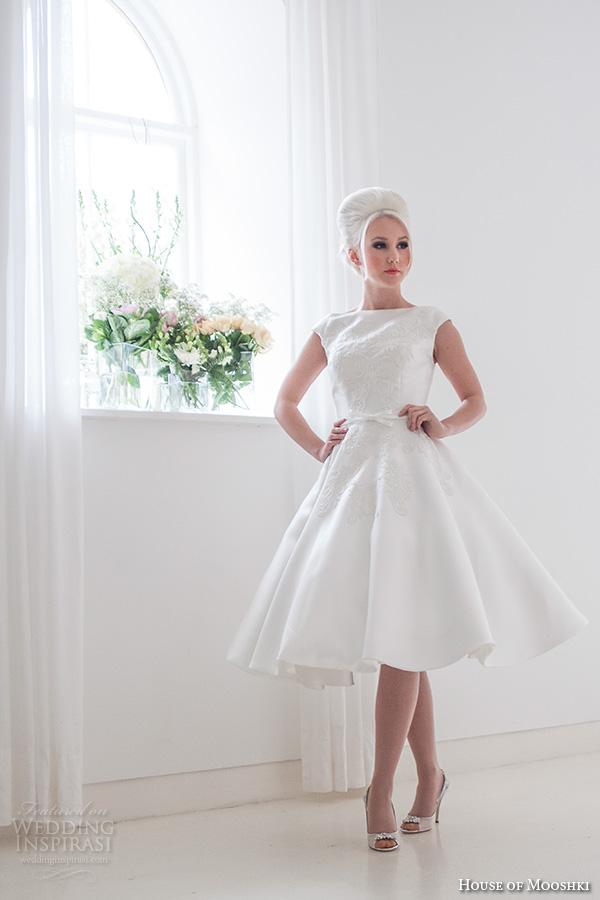 house of mooshki bridal 2015 ruby cap sleeve mikado satin tea length wedding dress