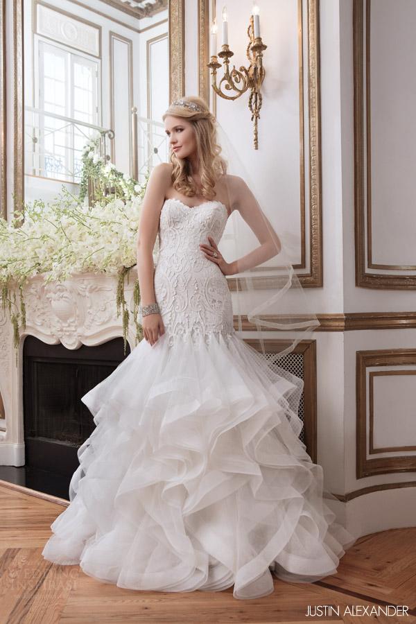 justin alexander 2016 bridal style 8795 strapless mermaid wedding dress godet skirt