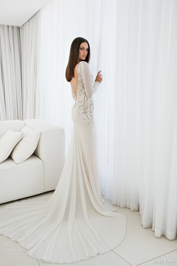 julie vino bridal spring 2015 empire maita long sleeve wedding dress lace bodice deep v back view trainn
