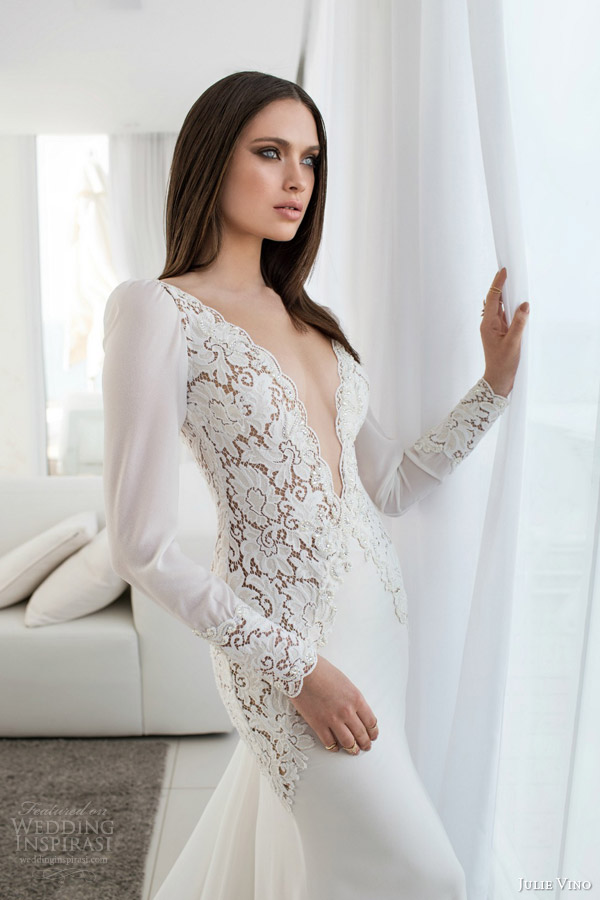 julie vino bridal spring 2015 empire maita long sleeve wedding dress lace bodice deep v