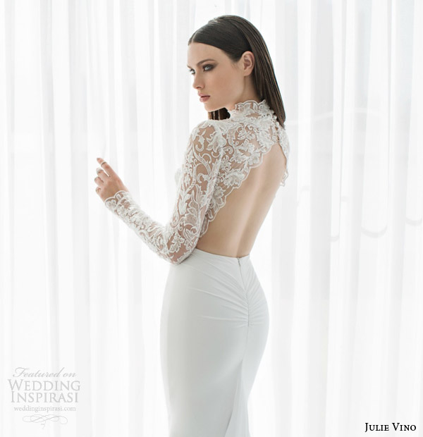 julie vino bridal spring 2015 urban abigaile illusion lace long sleeve wedding dress scalloped open back view