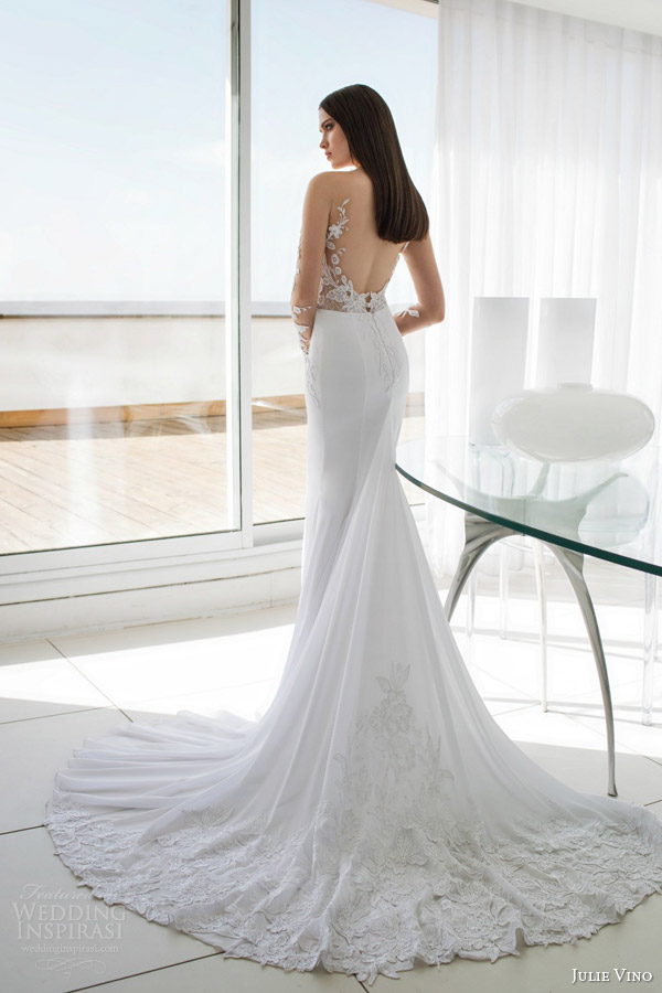 julie vino bridal spring 2015 urban alexa illusion long sleeve wedding dress lace back view train