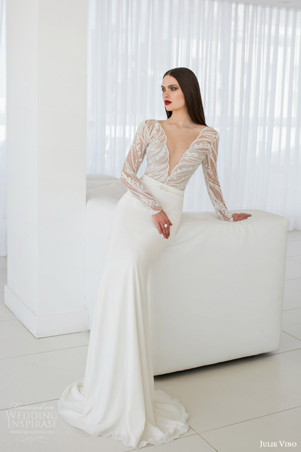 julie vino bridal spring 2015 urban scarlet long sleeve a line wedding dress full view