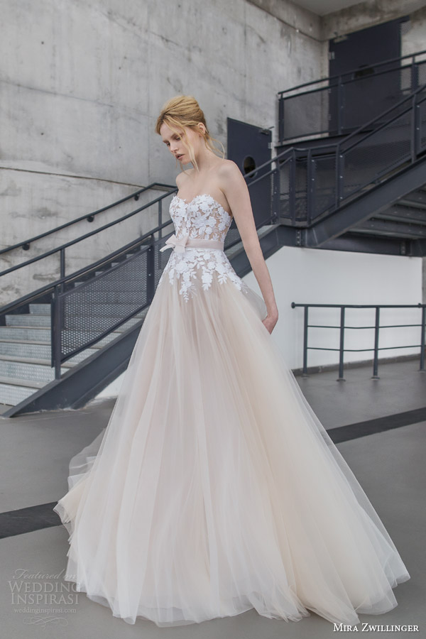 mira zwilinger bridal 2016 stardust fiona strapless blush layered tulle wedding dress white hand embroidered guipure flowers organza bow belt front