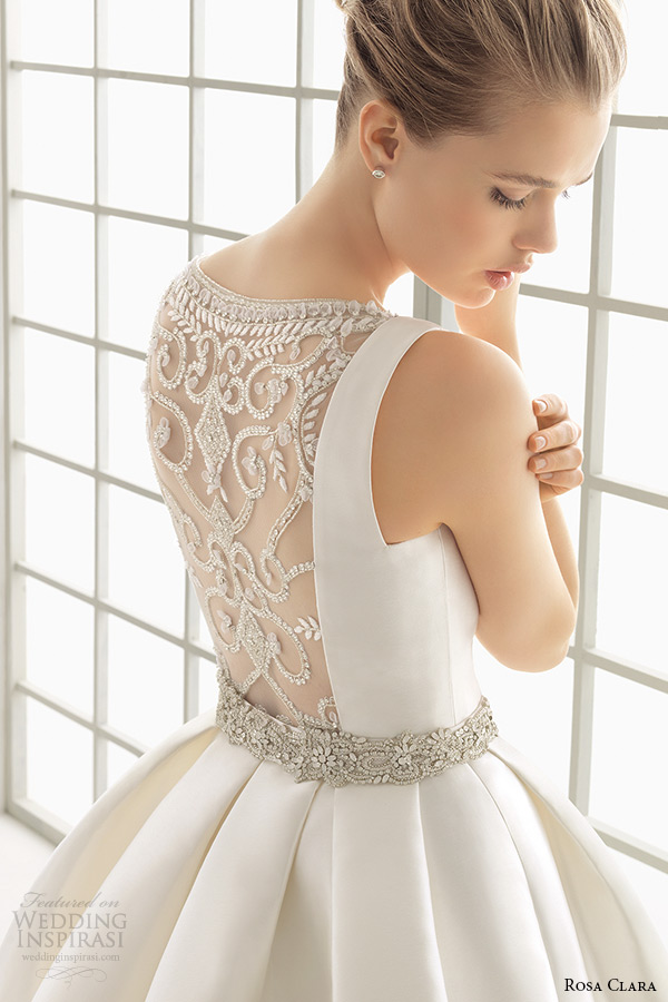 rosa clara 2016 bridal collection bateau neckline sleeveless clean wedding ball gown dress lace back delfos back zoom