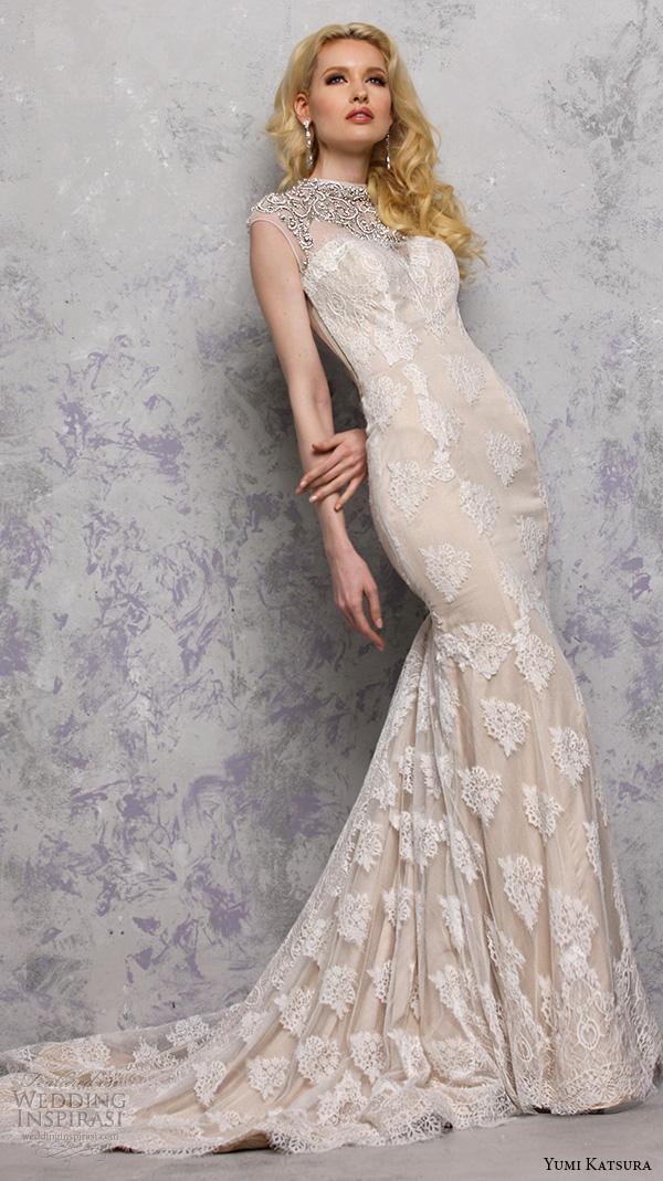 yumi katsura s2016 bridal sweetheart sleeveless jewel neckline with embroidery champagne color sheath wedding dress with train bhaga