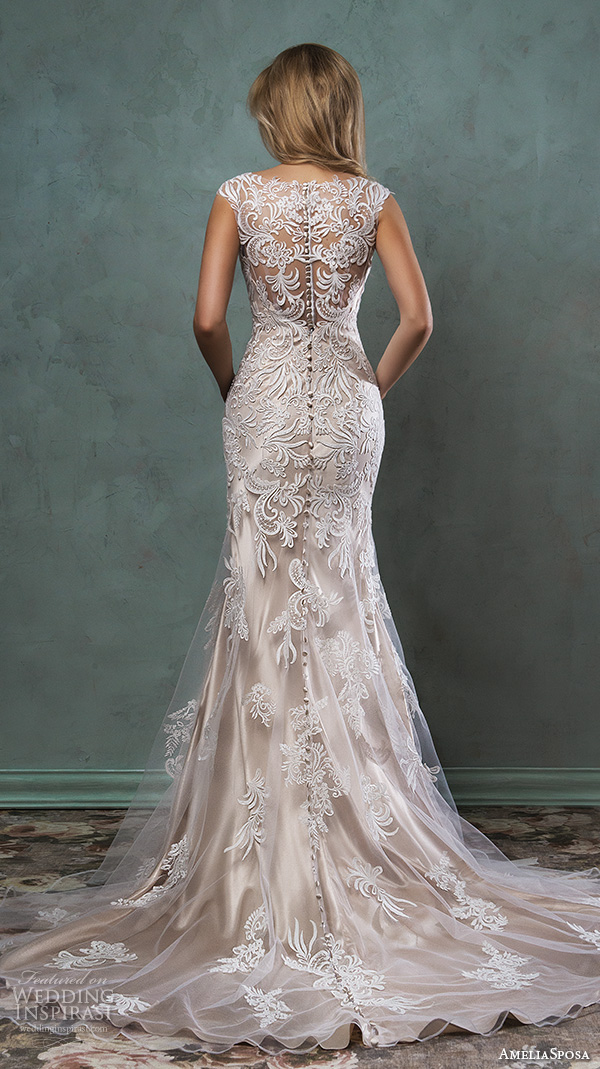 amelia sposa 2016 wedding dresses beautiful cap sleeves v scallop neckline embroidered champagne gold fit flare mermaid dress pia back view