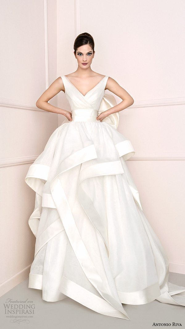 antonio riva 2016 bridal dresses v neck with strap tiered ball gown wedding dress kelly